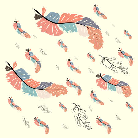 Colorful cute seamless pattern with variety of feathers Ilustracja