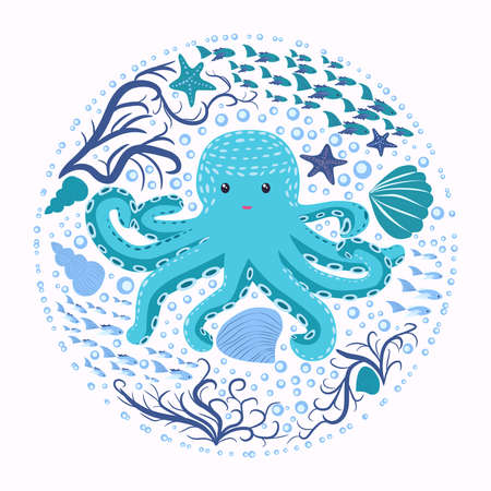 Happy Turquoise Octopus Cartoon Mascot Character. Marine inhabitants, Scandinavian style, hand drawn