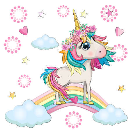 Cute magical unicorn on a rainbow. Greeting card, concept, print, design.