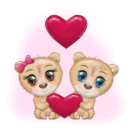 Couple of cute cartoon teddy bear with big eyes holding a heart, concept of love and relationships.