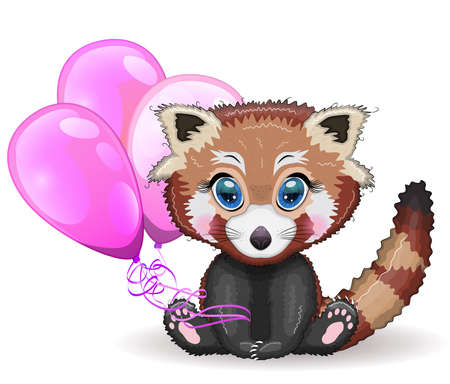 Red panda, cute character with balloons, greeting card, bright childish style. Rare animals, red book, cat, bear