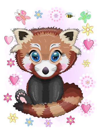 Red panda, cute character with beautiful eyes, bright childish style. Rare animals, red book, cat, bear.