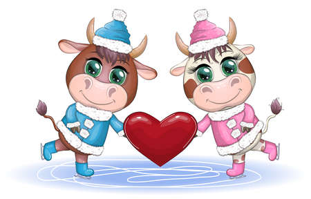 A bull and a cow ice skating with a heart, love, Valentine's Day 2021. Happy Chinese New Year. Boy and girl. Zodiac sign for greeting card, invitation, posters, stickers, tag. Ilustracja