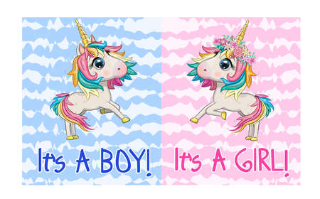 Baby Shower Greeting Card with cute Cartoon Unicorn girl and boy. Ilustracja