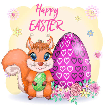 Cute cartoon squirrel with beautiful eyes holds an Easter egg, card for Easter.