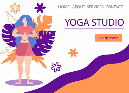 Website banner design for Yoga studio promotion with Learn more button. Yogi woman meditating. Cute flat female character and decorative plants, bright leaves Ilustracja