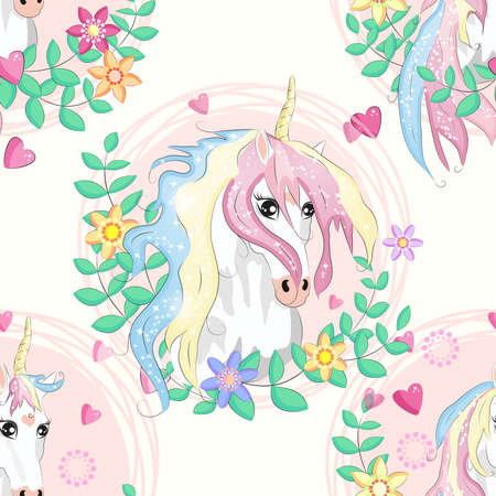 Seamless pattern with magic unicorns, rainbow, flovers, hearts, confetti and other elements Ilustracja