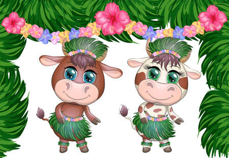 A pair of cute cartoon bull and cow with beautiful eyes is the character of a Hawaiian hula dancer among leaves, flowers. Funny bull dance. 2021 year animal symbol.