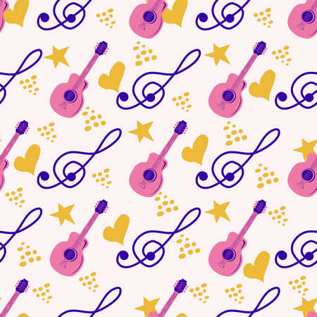 Love music seamless pattern with country guitar, music notes, hearts, decorative elements