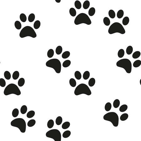 Cute seamless background. Cartoon paw for wallpaper design. Cartoon Modern design. Seamless fabric texture Ilustracja