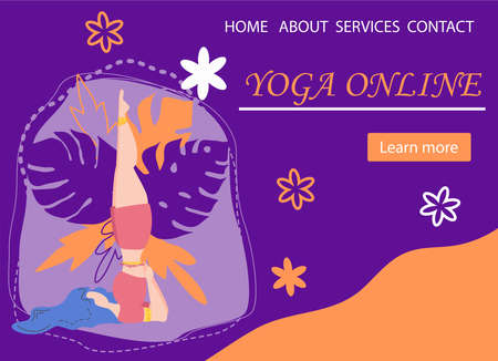 Website banner design for Yoga studio promotion with Learn more button. Yogi woman meditating. Cute flat female character and decorative plants