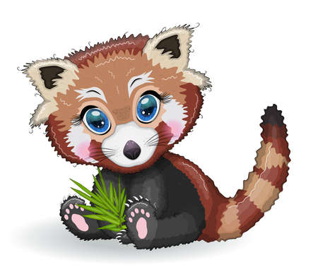 Red panda, cute character with bamboo leaves, greeting card, bright childish style. Rare animals, red book, cat, bear Vettoriali