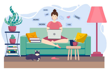 Young woman working or studying from home, sitting on the couch, in a cozy atmosphere, with tea and a cat. Covid-19 quarantine concept, work and learning from home. Cartoon style