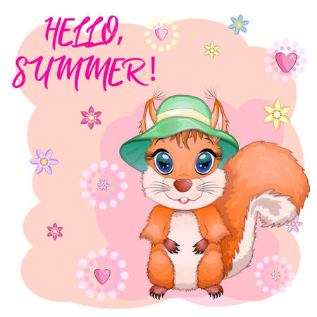 Cute cartoon squirrel with beautiful eyes in a hat, concept summer comes, sea, vacation. Ilustração