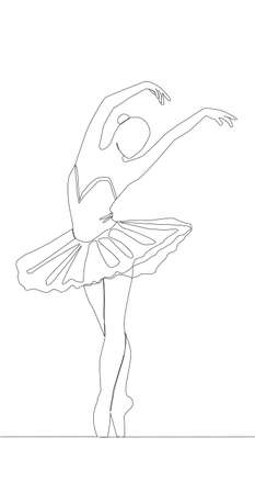 Self drawing animation of continuous line drawing of woman ballet dancer Ilustração
