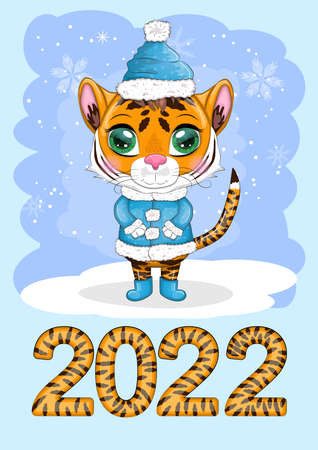 Calendar 2022 with cute cardboard animals for every month. Tiger, snow leopard, red panda, cat, hippo, owl, lion, hare, fox, hamster, cow. vertical calendar, week starts on Sunday. A4 format.