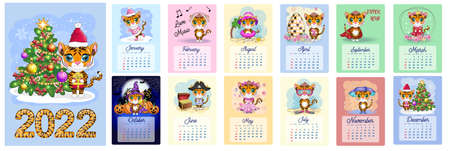 Cute tiger. Wall calendar design template for 2022, Year of the Tiger according to the Chinese calendar, A4 format. Week starts on Sunday
