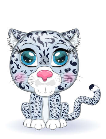 Cartoon snow leopard with expressive eyes. Wild animals, character, childish cute style