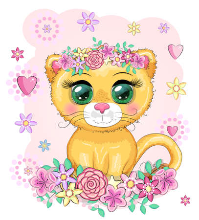 Cartoon lioness with expressive eyes. Wild animals, character, childish cute style. Иллюстрация