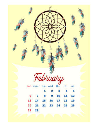 Colorful cute monthly boho calendar 2022 with dream catchers, boho owls, arrows, feathers, inspirational. vertical calendar for 2022, the week starts on Sunday. A4 format.