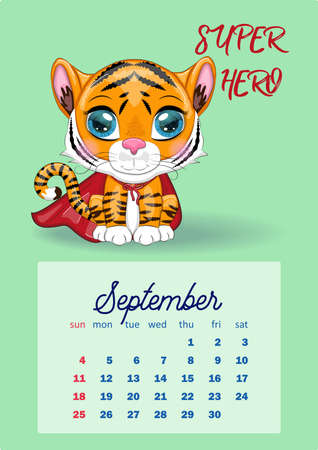 Cute Tiger Wall Calendar Template for 2022, Year of the Tiger, Chinese Calendar, A4. Week starts on Sunday. cartoon