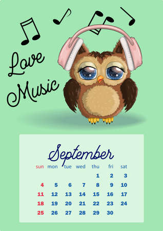 Cute cartoon owl with beautiful eyes. Wall calendar design template for 2022, A4 format for each month. Week starts on Sunday.
