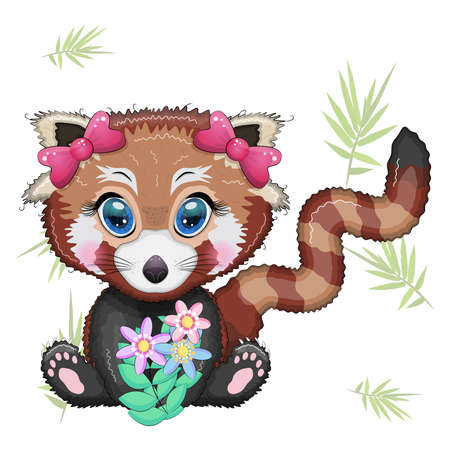 Red panda girl with bows and bouquet, holiday concept, mother's day card.