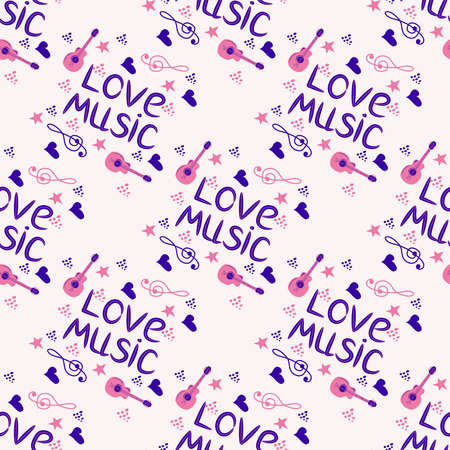 Love music seamless pattern with country guitar, music notes, treble clef, hearts, decorative elements