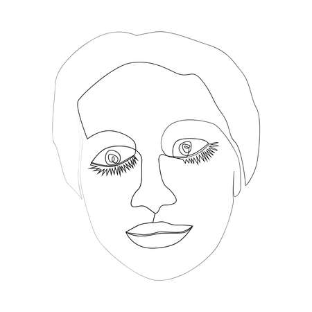 Continuous line, drawing of set faces and hairstyle, fashion concept, woman beauty minimalist, illustration for design print Иллюстрация