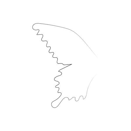 Flying bird continuous line drawing element isolated on white background for logo or decorative element. illustration of animal form in trendy outline style. Stock Illustratie