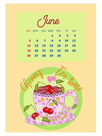 Drinks calendar 2022 with seasonal dessert of various tea, coffee, cocoa. Fruits, berries, cakes, tea. Teas with prescription ingredients. vertical calendar, week starts on Sunday. A4 format.