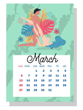 Concept calendar for 2022. Beautiful couples for every month of the year, silhouettes, family, Kama Sutra poses. Wall vertical calendar for 2022, the week starts on Sunday. A4 format.