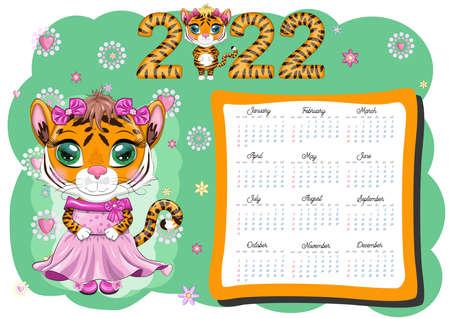 Calendar 2022. Tiger - a symbol of the new year, Cartoon tiger. Chinese horoscope calendar, horizontal A4 format, calendar for 12 months. Week starts on Sunday