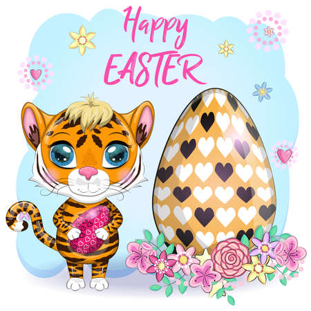 Cartoon tiger with Easter egg as Easter bunny. Easter 2022, April. greeting card. Children's style, cute. Symbol of the year