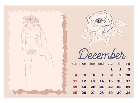 Beautiful female figure, simple minimal linear style, body positive emblem, abstract badge for lingerie designer. horizontal calendar for 2022, week starts on Sunday. A4 format. Çizim