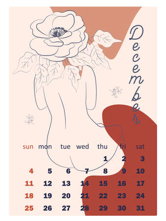 Beautiful silhouettes of women with flowers, beige tone. Wall vertical calendar for 2022, week starts on Sunday. A4 format