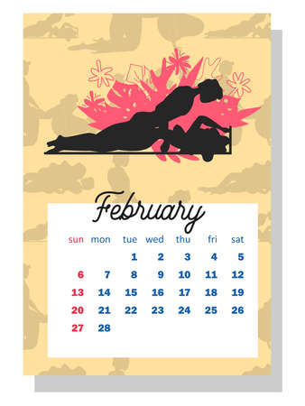 Concept calendar for 2022. Beautiful couples for every month of the year, silhouettes, relationships, family, Kama Sutra poses