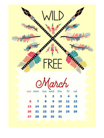 Colorful cute monthly boho calendar 2022 with dream catchers, boho owls, arrows, feathers, inspirational inscriptions Çizim