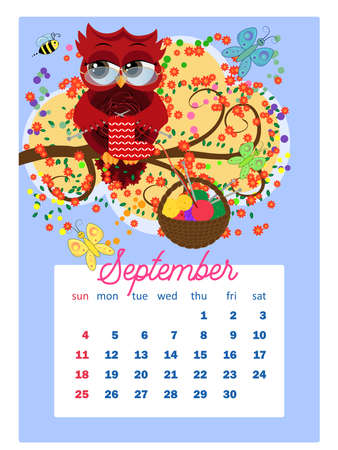 Calendar 2022. Cute owls and birds for every month. Wall vertical calendar for 2022, the week starts on Sunday. A4 format.