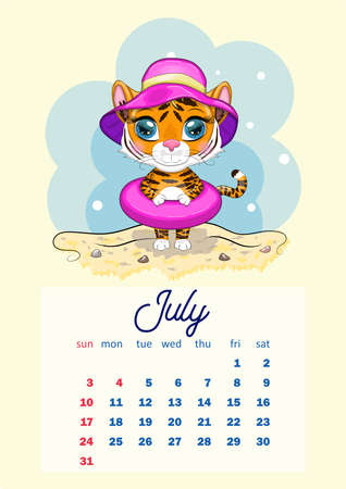 Cute Tiger Wall Calendar Template for 2022, Year of the Tiger, Chinese Calendar, A4. Week starts on Sunday. Çizim