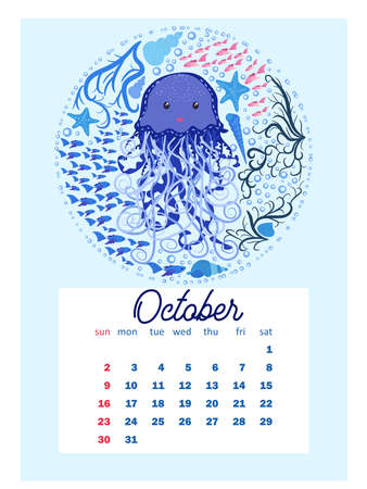Marine life. calendar design template for 2022, A4 format. Week starts on Sunday. Whale, mermaid, snail, shark, crab, stingray, seahorse, dolphin, octopus, turtle Çizim
