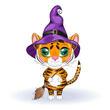 Cute cartoon tiger with beautiful eyes, orange in a purple cloak and witchs hat, with a broom and pumpkins. Halloween 2022