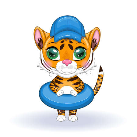 Cute cartoon tiger with beautiful eyes, orange with a circle for swimming and wearing a hat. Chinese New Year 2022, Year of the Tiger. Çizim
