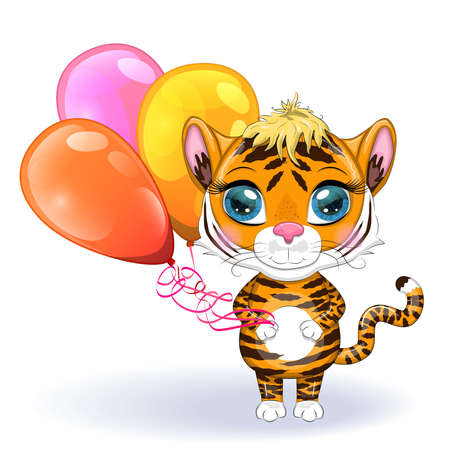 Cute cartoon tiger with beautiful eyes with balloons, greeting card. Chinese New Year 2022, Christmas Year of the Tiger