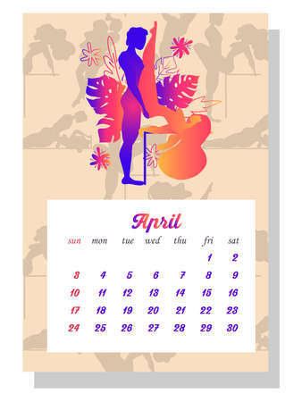 Concept calendar for 2022. Beautiful couples for every month of the year, relationships Kama Sutra poses. people make love. vertical calendar for 2022, the week starts on Sunday. A4 format.