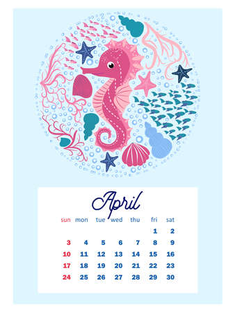 Marine life. calendar design template for 2022, A4 format. Week starts on Sunday. Whale, mermaid, snail, shark, crab, stingray, seahorse, dolphin, octopus, turtle, jellyfish, clown fish