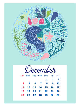 Marine life. Wall calendar design template for 2022, A4 format. Week starts on Sunday. Whale, mermaid, snail, shark, crab, stingray, seahorse, dolphin, octopus, turtle, jellyfish, clown fish etc.