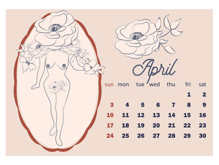 Beautiful female figure, template in simple minimal style, body positive emblem. horizontal calendar for 2022, week starts on Sunday. A4 format.