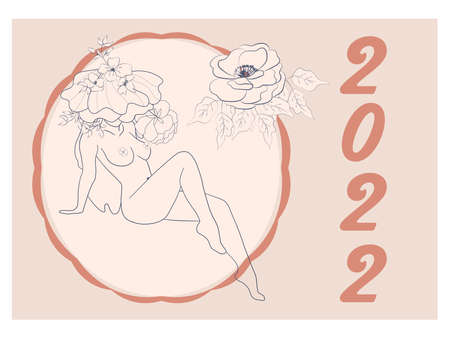 Beautiful silhouettes of women with flowers, beige tone. Wall horizontal calendar for 2022, week starts on Sunday. A4 format.