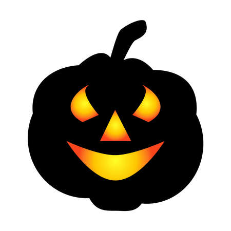 Halloween pumpkin icon. Autumn symbol. Halloween scary pumpkin with a smile, burning eyes. Cartoon colorful illustration.